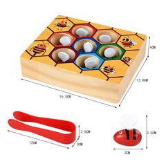 Wooden Children Education Clip Beehive Games Toy Gift