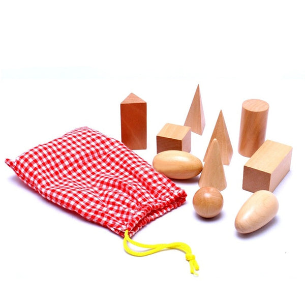 10PCS/Set  Wooden Montessori Bag Geometry Blocks Toys