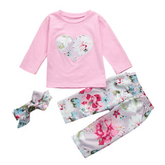 Baby Gilr 3pcs Clothes Set Love Floral Print