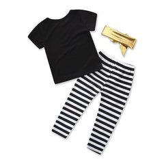 3Pcs Baby Girls Clothes Set Letter Print Short