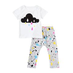 Baby Girls Summer Clothes Set Clouds Print
