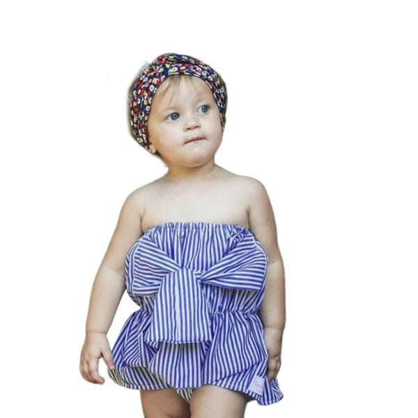 Infant Baby Girls rompers Sleeveless Striped