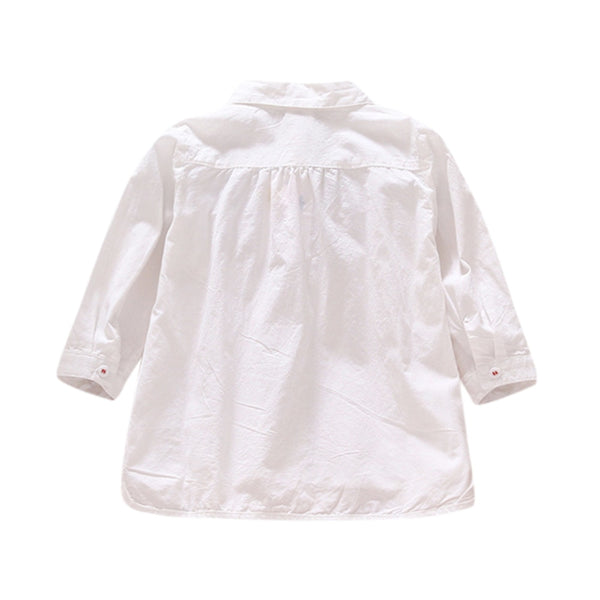 Girls Solid Long Sleeve Lace Shirt Tops