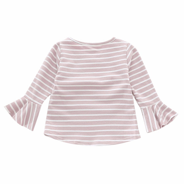 Girl pure cotton stripe round collar Tops