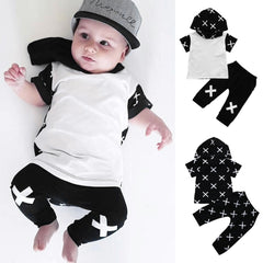 Toddler Baby Boys Clothes Set Summer Cross Print