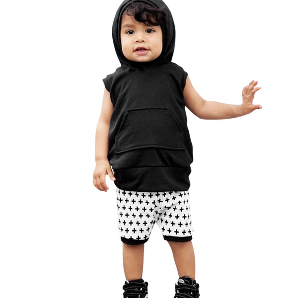 Toddler Baby Boys Summer Solid Hooded Set