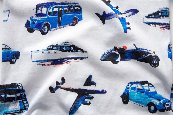 Boys Summer Short Sleeve Cartoon Car Print Tops
