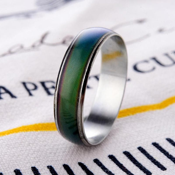 Temperature Changing Color Magic Emotion Feeling Stainless Steel Temperature Rings for Women Men