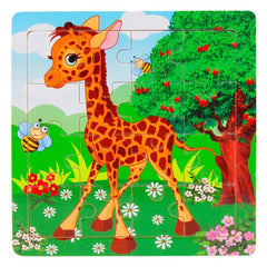 16pcs/set Animals puzzle Jigsaw Wooden Toys