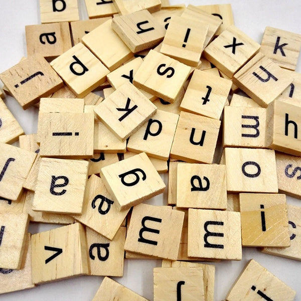 Wooden Scrabble Tiles Black Letters Numbers For Education