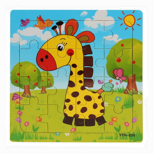 16pcs Wooden Animals Puzzle Educational Baby Kids Toy