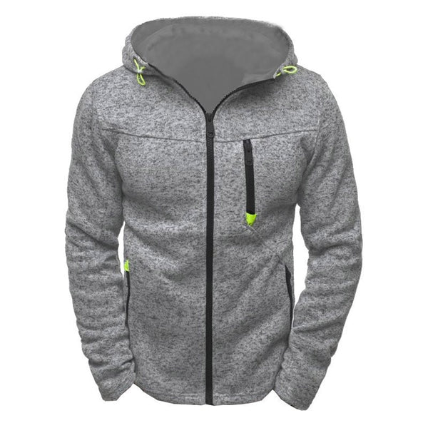 Men's Solid color hip hop Zipper Slim Hoodies Sweatshirts