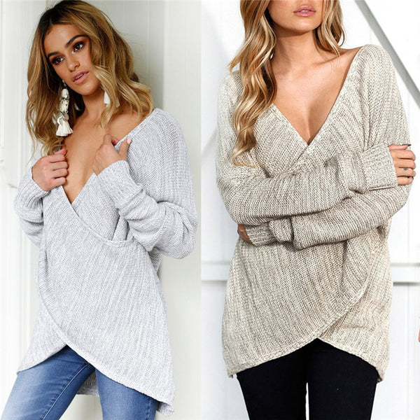 Women Sexy V Neck Cross Knitting Winter Sweater