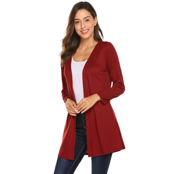 Women Casual Wine Sleeve V Neck Sweater
