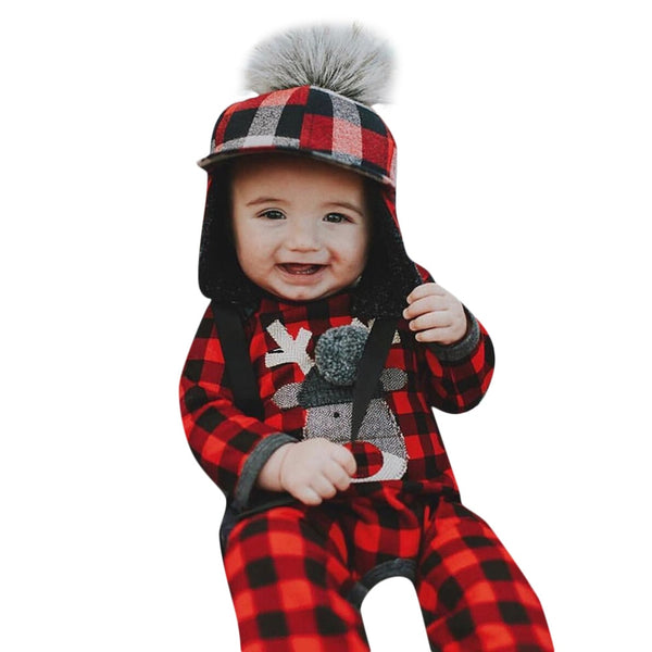 Newborn Rompers Baby Girls Plaid Deer Print
