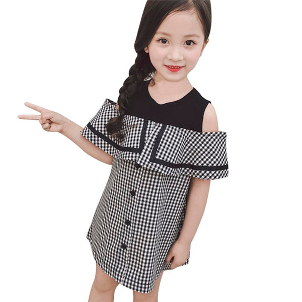 Girls Summer Short Sleeve Plaid Dresses