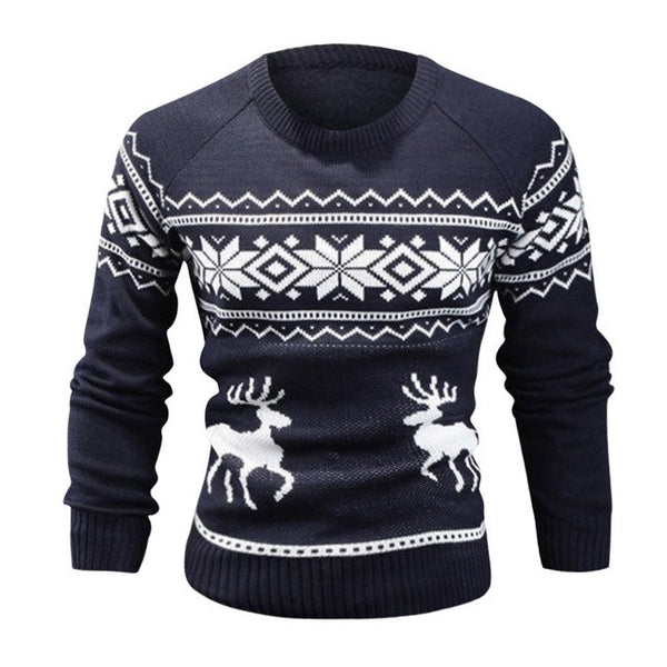 Warm Sweater Men Floral Print Winter Pullovers