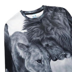 Hoodies Mens Sweatshirt  Lion Hip Hop Long Sleeve