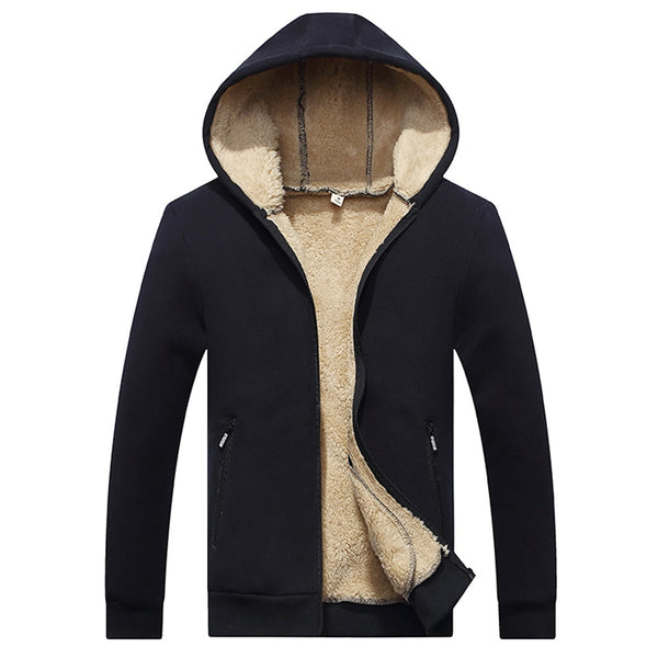 Autumn Winter Hoodie Velvet Zipper Thickened Baseball Men's Coat