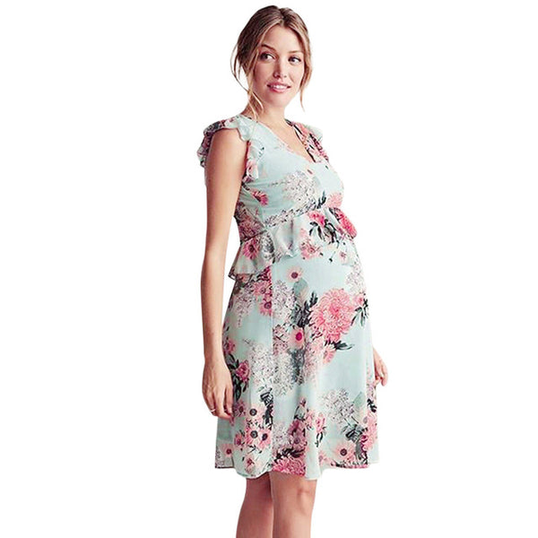 Loose Pregnant Women Casual Tops Floral Party Dresses