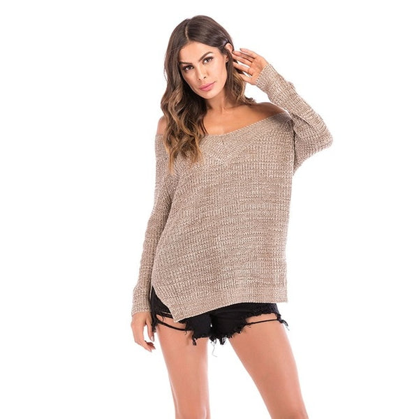 Women Off Shoulder Sweater Autumn Knitted
