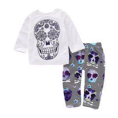 Toddler Baby Girl Clothes Set Skull Striped