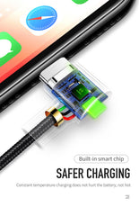 USB Cable for iPhone LED Fast Charging Data Cord for iPhone XS MAX X XR 8 7 6 Plus