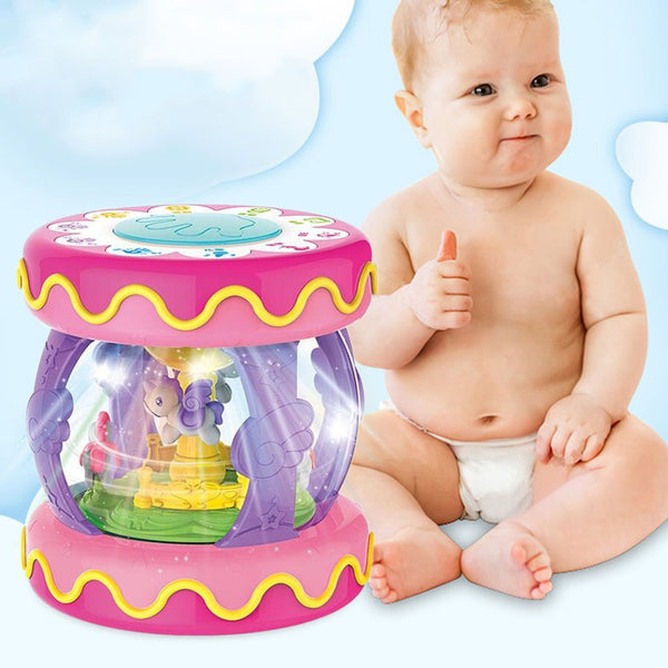 Baby Musical Instrument Toys Beating Hand Drum Light Box