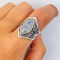 Silver Natural Marquise Moonstone Ring