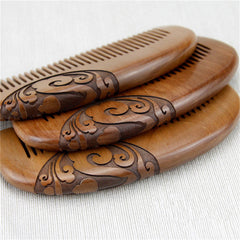 Double-sided Hair Comb Carved Sandalwood