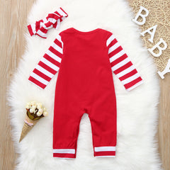 Baby Rompers Letter Print Striped Jumpsuit