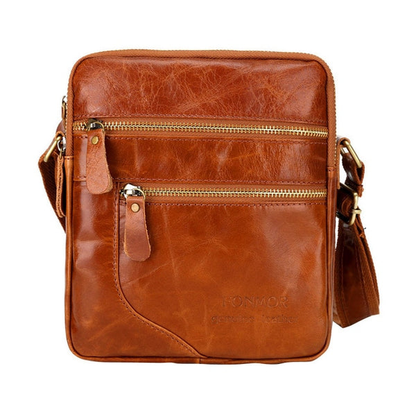 Men's first layer cowhide oil wax business bag