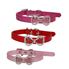 Pet Dog Bowknot Diamond  Leather  collars puppy supplies