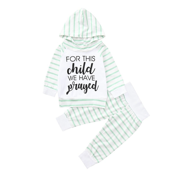 Boys Striped Letter Print Hooded Tops Pants Clothing Set