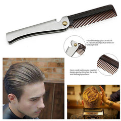 Professional Folding Men's Comb Silver Stainless Steel