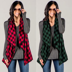 Women Check Plaid Waistcoat Outwear