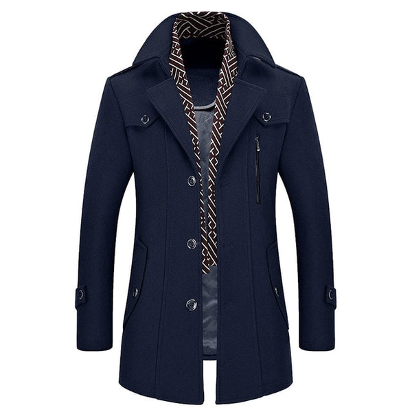 winter Men's Casual Wool Trench Coat Fashion Business