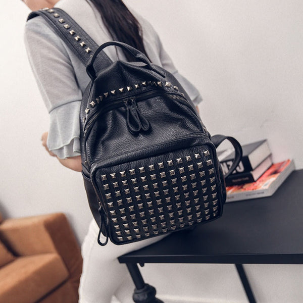 Backpack Women Girl Rivet Leather School Bag