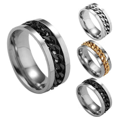Men's Titanium Steel Chain Rotation Ring Cross Border