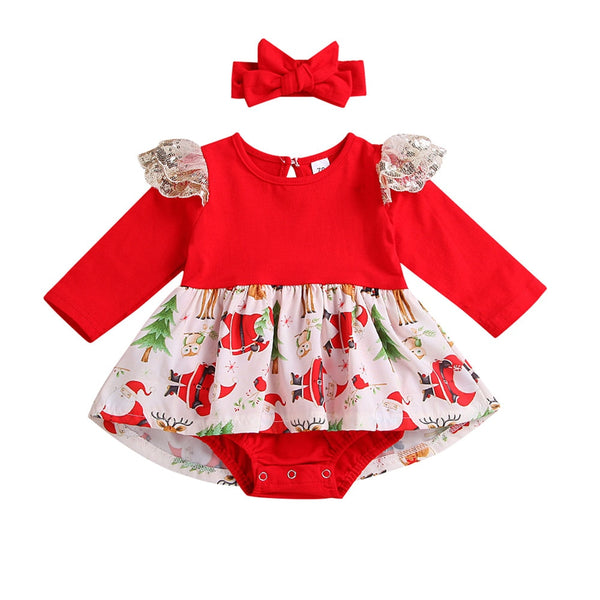 Newborn Baby Rompers Girls Christmas Lace