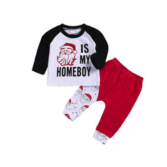 Christmas Baby Boy Letter Patchwork Long Sleeve Set