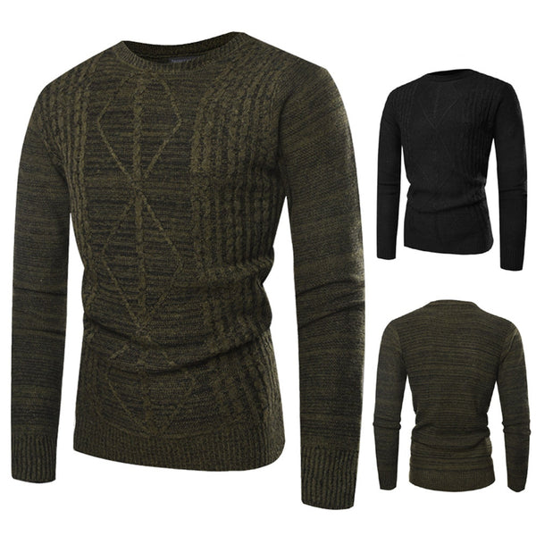 Autumn Winter Men Pullover Knitted Printed Sweater