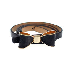 PU Leather Women Skinny Butterfly Bow Waist Belt