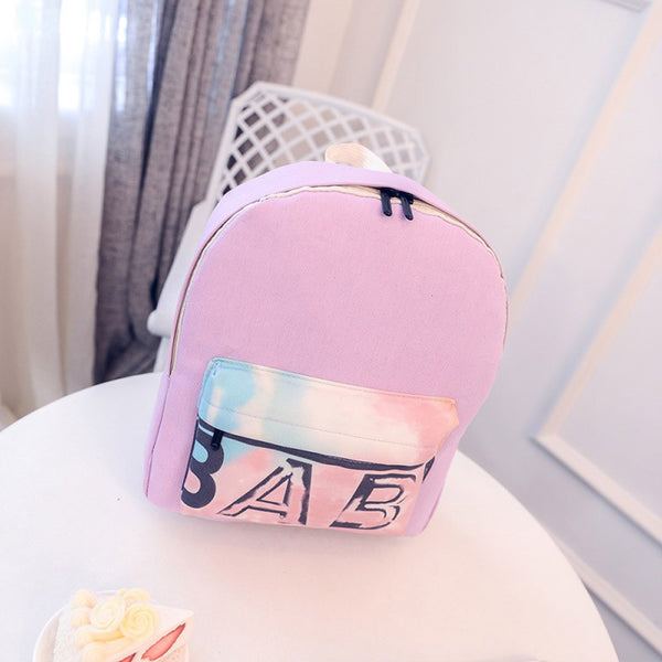Letters Printing Backpack Women Canvas School Shoulder Bag