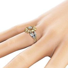 Women's Two Tone Silver Floral Ring Round Gold Sunflower