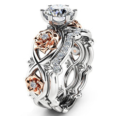 Women Silver & Rose Gold Filed White Wedding Ring