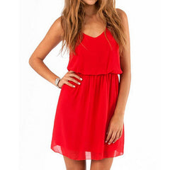 Women Solid Loose Sling Red Black Dress Chiffon Beach