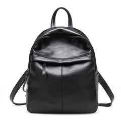 Women Leather Black Backpack School Bags