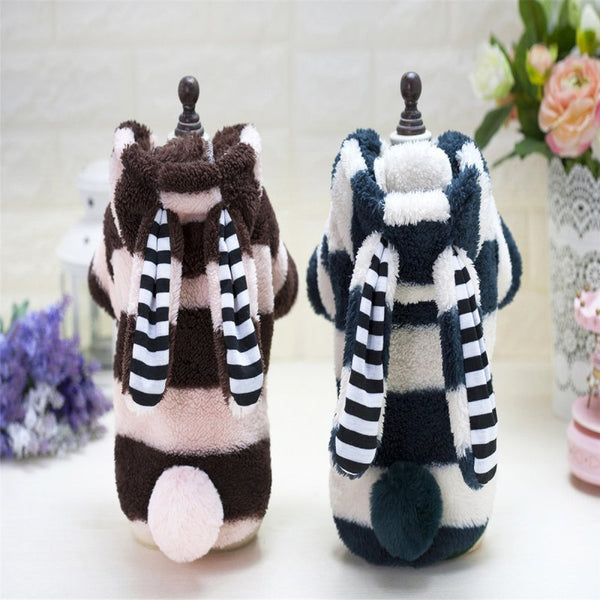 Dog Sweater  Large Warm Rabbit Ears Four-legged Stripes