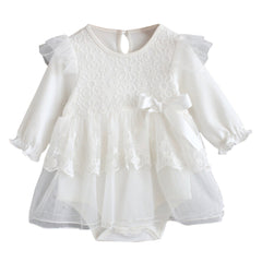 Baby long-sleeved bow lace princess dress